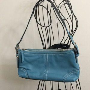 Coach teal leather zip top Demi bag